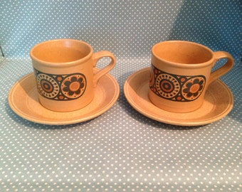 Set of 2 original vintage Kiln Craft Pottery Bacchus cups and saucers. Duos. - FREE UK POST -