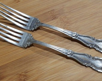 "Antique W R Keystone 1913 SHERWOOD Dinner Fork 7 3/8"", Set of 2"