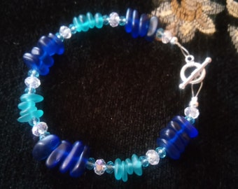 """Ocean Blues """"sea glass"""" bracelet"""