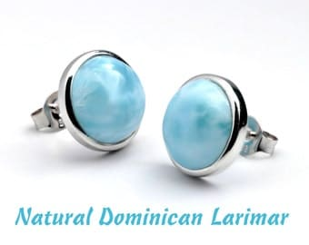 Larimar Natural 10mm Stud Earrings .925 Sterling Silver Bezel Set Cabochon