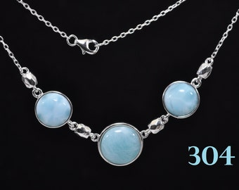 Larimar Necklace 100% NAtural One 12mm Two 10mm 925 Sterling Silver