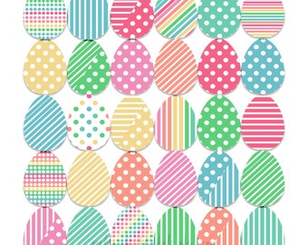 EASTER Eggs, Designer Clipart, Bright Pastel Easter Eggs, Polka Dots, Multi-Color Eater Eggs, INSTANT DOWNLOAD