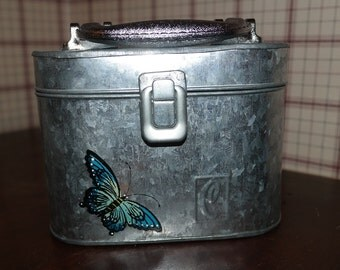 Galvanized Metal Box Purse with Handle Monogram C with a Butterfly