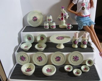 Spring Bouquet Hand-painted, OOAK dishes for 1:6 fashion dolls like Barbie