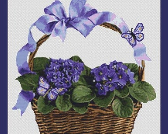 Violets and Butterflies Flower Basket Counted Cross Stitch Pattern (13.29 x 13.36 in or 33.75 x 34 cm) download printable PDF Chart (4038)