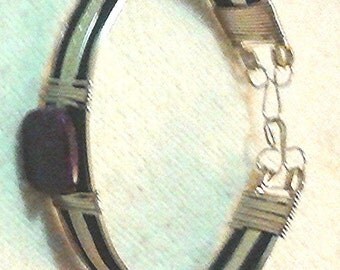 Lepidolite Accented Silver & Leather Band