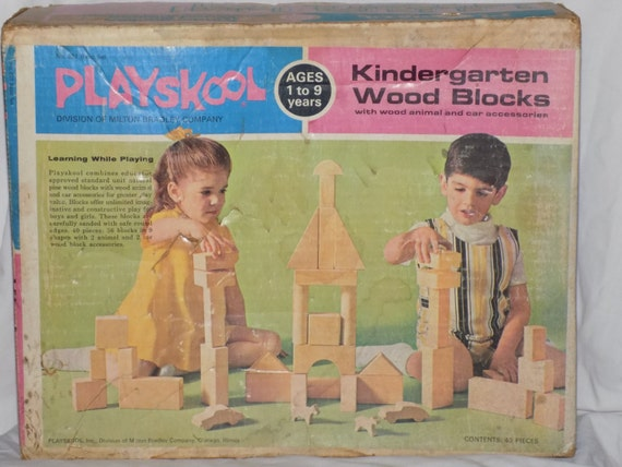 Reduced Price Vintage Playskool Kindergarten Wood Blocks Set
