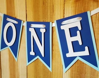 Light Blue and Navy High Chair Banner, Happy Birthday, I Am One Banner, I Am Two Banner
