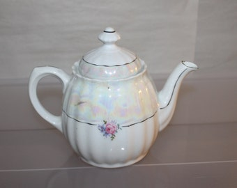 China Tea Pot Made in Germany, Gorgeous Design, Flowers and Black Lines, With Matching Lid & Knob on Lid, Unique Glazing to See Faded Colors