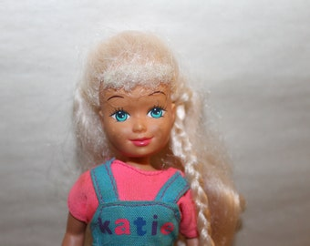 Doll Named Katie, Blue Overalls with Pink Shirt, Nice Fabric, She Has Long Blonde Hair, Collectible,  TOYS, Children Gift, Barbie Like NICE