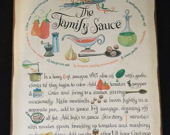 """Vintage """"The Family Sauce"""" Wooden Kitchen Sign"""