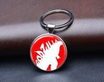 Unique Godzilla logo retro keyrings brass silver plated bronze key chain custom birthday party gift