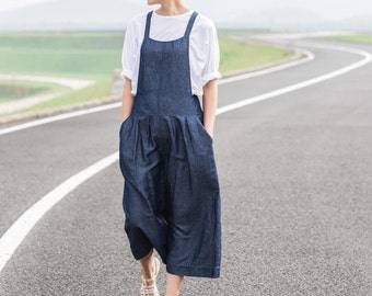 Blue linen overalls BonLife
