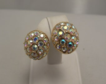 Vintage Retro Signed Swarovski AB Crystal Stone Egg Earrings