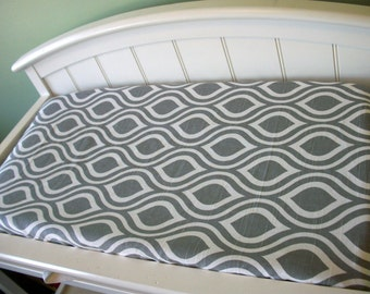 Changing Pad Cover - Custom Baby Bedding - Choose your fabric- Solid zigzag minky chevron