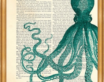 Octopus from Ocean, Vintage Sea life Drawing DICTIONARY ART PRINT on Vintage Dictionary Page 8'' x 10'' from up-cycled book