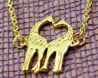 Giraffe Necklace - Tiny Giraffe Pair Heart Necklace in Brass
