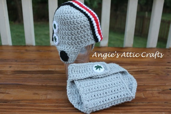 Crochet Ohio State Inspired Hat & Diaper Cover Prop