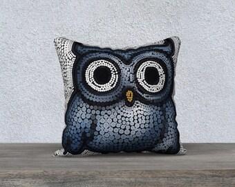 Blue owl cushion cover, mosaic owl pillowcase, gift for owl lovers, couch cushions, nursery decor