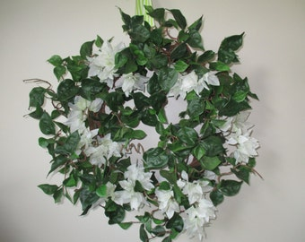 "22"" Bougainvillea Wreath Home Decor Door Decoration Silk Flowers Wall Decor White Floral Wreath #248A"