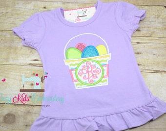 Easter Basket Glitter Egg Shirt boy girl kid child baby toddler infant embroidery applique custom monogram name personalized spring