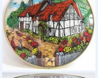 Vintage Retro 3D Convex Domed Glass Hand Painted Picture Country Cottage 60's
