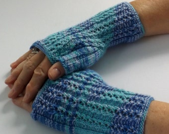 Handknit Ladies Fingerless Texting Gloves, Driving Gloves, Blue Self-Striping Fingerless Mittens, Crafting Gloves, Self-Striping SockYarn101