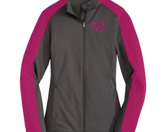 Monogrammed Ladies Active Colorblock Soft Shell Jacket.. Personalized Full Zip Jacket. Monogram Coat. Monogrammed Soft Shell Coat. L718