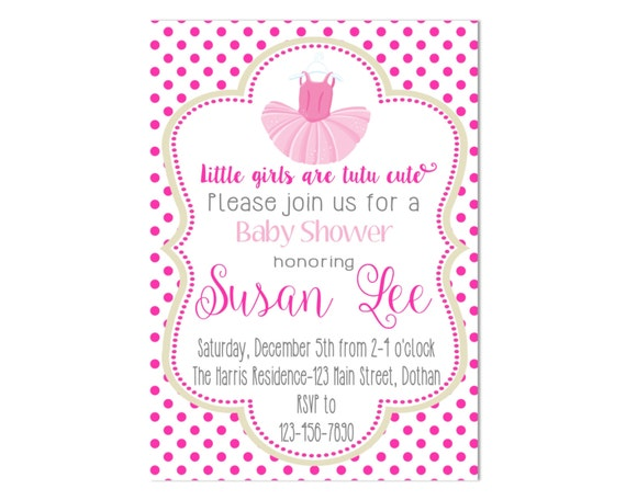 tutu baby shower invitation girl baby shower baby shower invitation