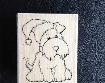 Santa Pup Rubber Stamp on Wood Block, Puppy Rubber Stamp, Card Making, Scrapbooking, Stampendous