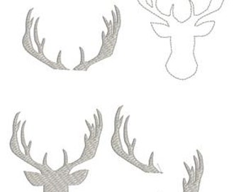 Deer and Antler Collection Filled Outline Embroidery Design Pattern