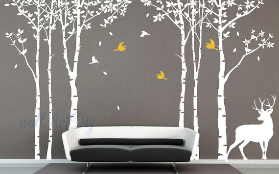 autocollant de mur grand arbre arbre mural stickers par wallartdiy. Black Bedroom Furniture Sets. Home Design Ideas