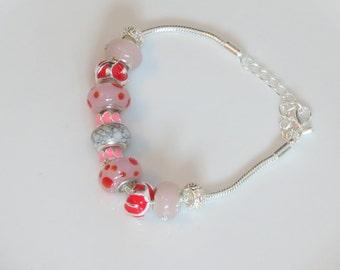 European beads bracelet - Pink shades