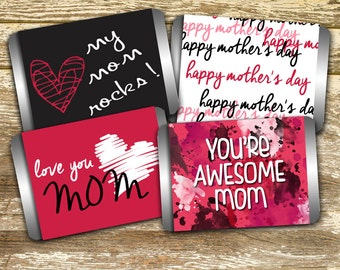 Mini Candy Bar Wrapper - Mother's Day Candy Wrappers, Hershey Mini, Mom Rocks, Awesome Mom, Gift under 10, Mother's Day Gift