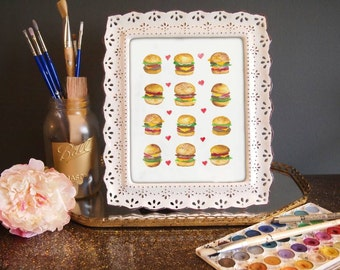 CHEESEBURGER LOVE Watercolor Print (8.5 x 11)