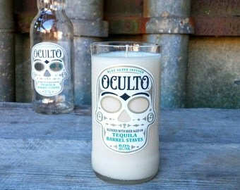 Oculto Sugar Skull Tequila Beer Bottle Upcycled Scented Candle