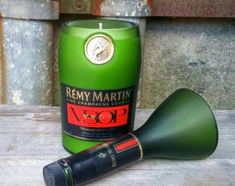 Recycled Green Frosted Glass Bottle, Scented Candle - Remy Martin Champagne Cognac From France