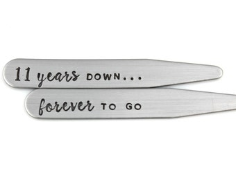 11th ANNIVERSARY HUSBAND Gift Stainless Steel Collar Stays 2.5""
