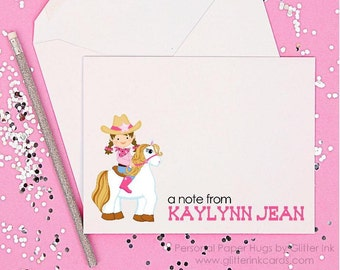 Cowgirl Note Card Set - Cowgirl Stationery Set - Cowgirl Thank You Cards - Blank Cowgirl Notecards - Western Stationery