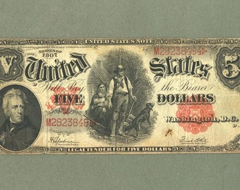 1907 Speelman White 5 Red Seal Large Note Wood Chopper Five Dollars