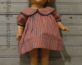FOR SALE ~~ Composition Doll With Red/White/Blue Striped Dress, Shoes & Socks