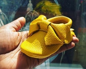 Lemon Leather Baby Moccasins with Bow|baby moccasains| baby moccs| moccasains|bow moccasains