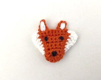 Crochet Fox Applique   Fox Embellishment   Fox Motif