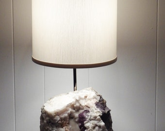"""Gemstone Lamp with Flourite, Calcite, Dolomite, and Barite --  """"Celeste""""  //Rock Crystal Lamp//Mineral Lamp//Geode//Crystals"""