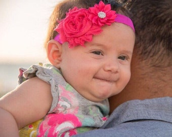 Newborn headband, baby girl headband, pink baby headband, pink headband, gift for baby, hot pink headband