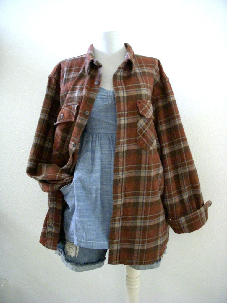 Vintage brown plaid flannel shirt by schmidt workwear heavy for Heavy plaid flannel shirt