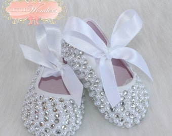 Swarovski Crystal And Pearl Baby Girl Ballerina Flat Shoes