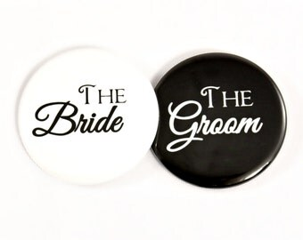 "Bride and Groom Button. 2.25"" Pin Back Button. Wedding Button. Couples Shower. Bride Button. Groom Button. Wedding Photo Accessory. Wedding."