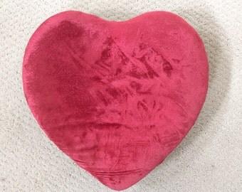 Vintage Heart Footstool Ottoman Red Velvet