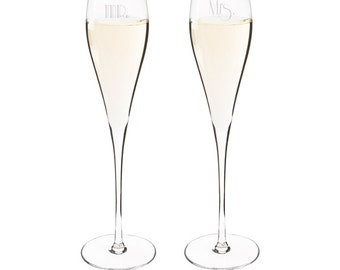 Mr. and Mrs. Gatsby Style Champagne Wedding Toasting Glasses